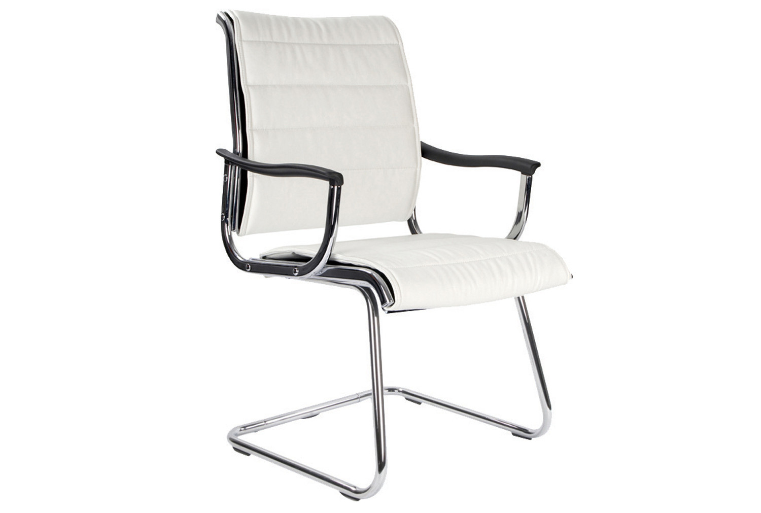 Havana White Leather Faced Visitor Chair