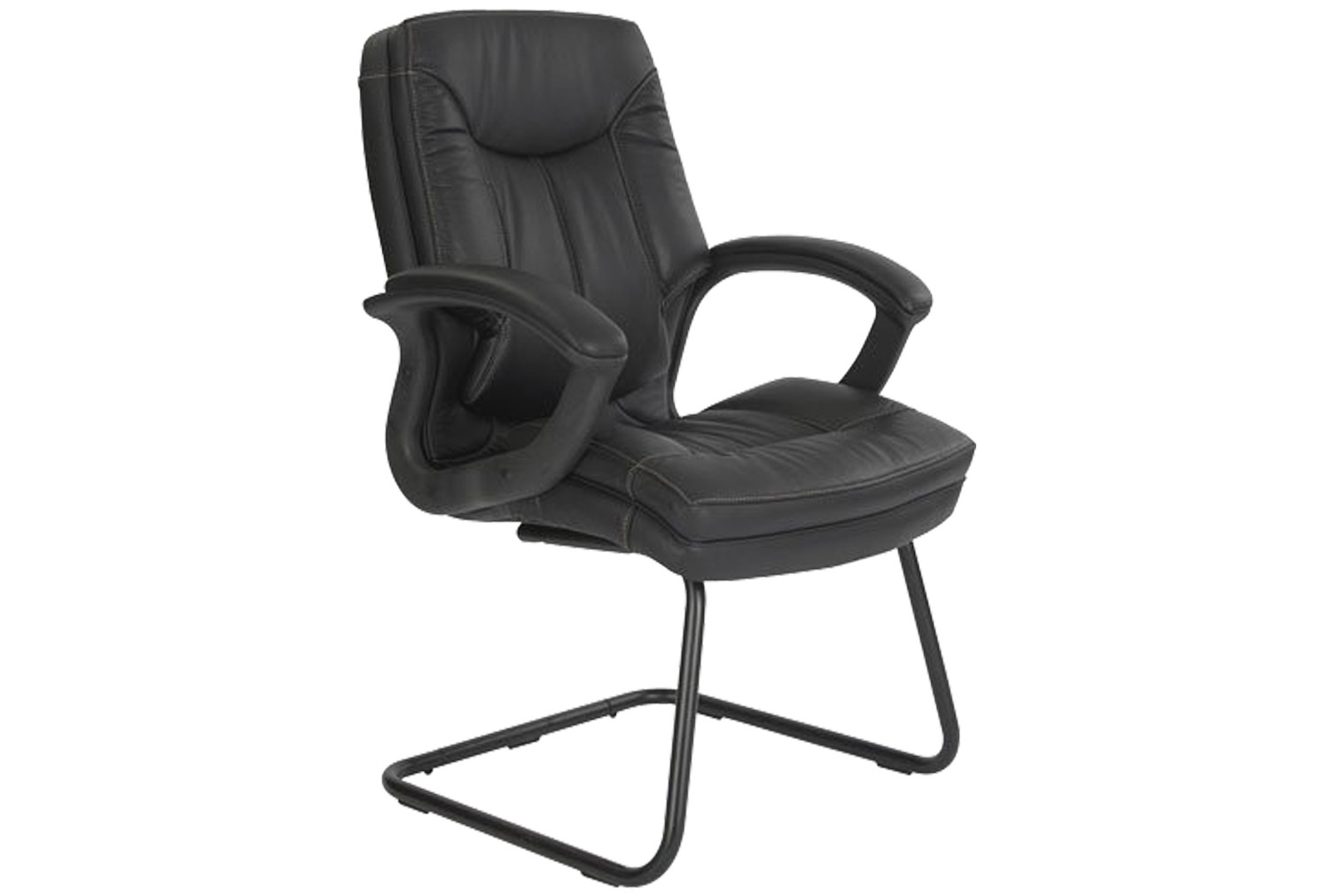 Clayton Black Leather Faced Visitor Chair