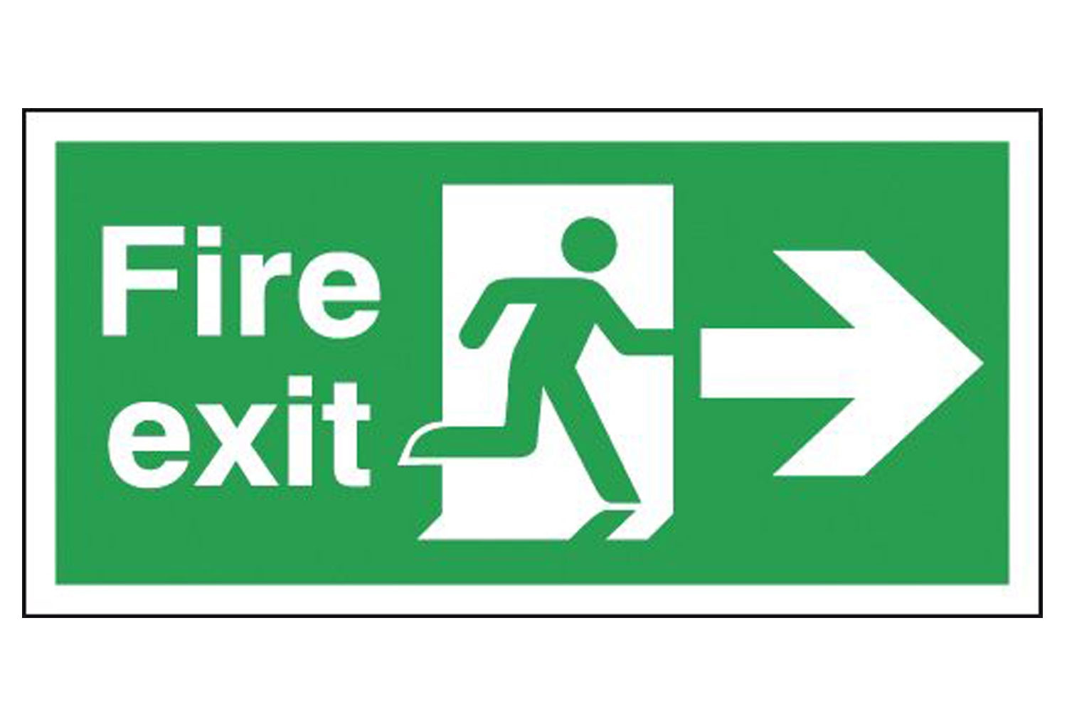 Fire Exit Running Man Arrow Right Self Extinguishing Sign