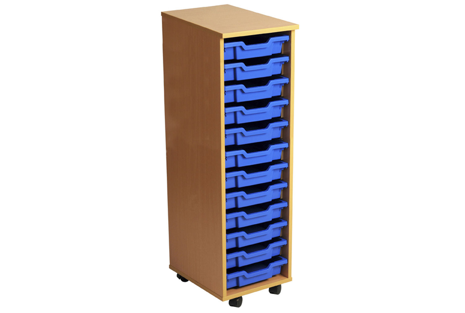 Primary Single Column Mobile Tray Storage Unit With 12 Shallow Trays
