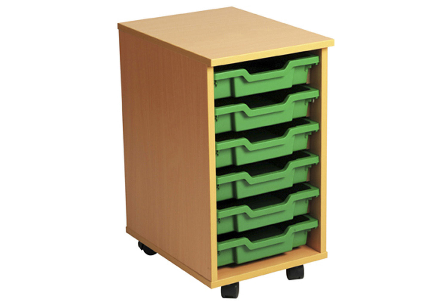 Primary Single Column Mobile Tray Storage Unit With 7 Shallow Trays