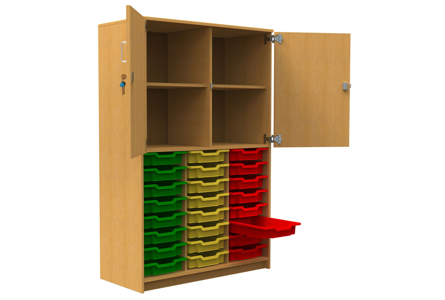Tall Tray Storage Cupboard With Half Upper Doors
