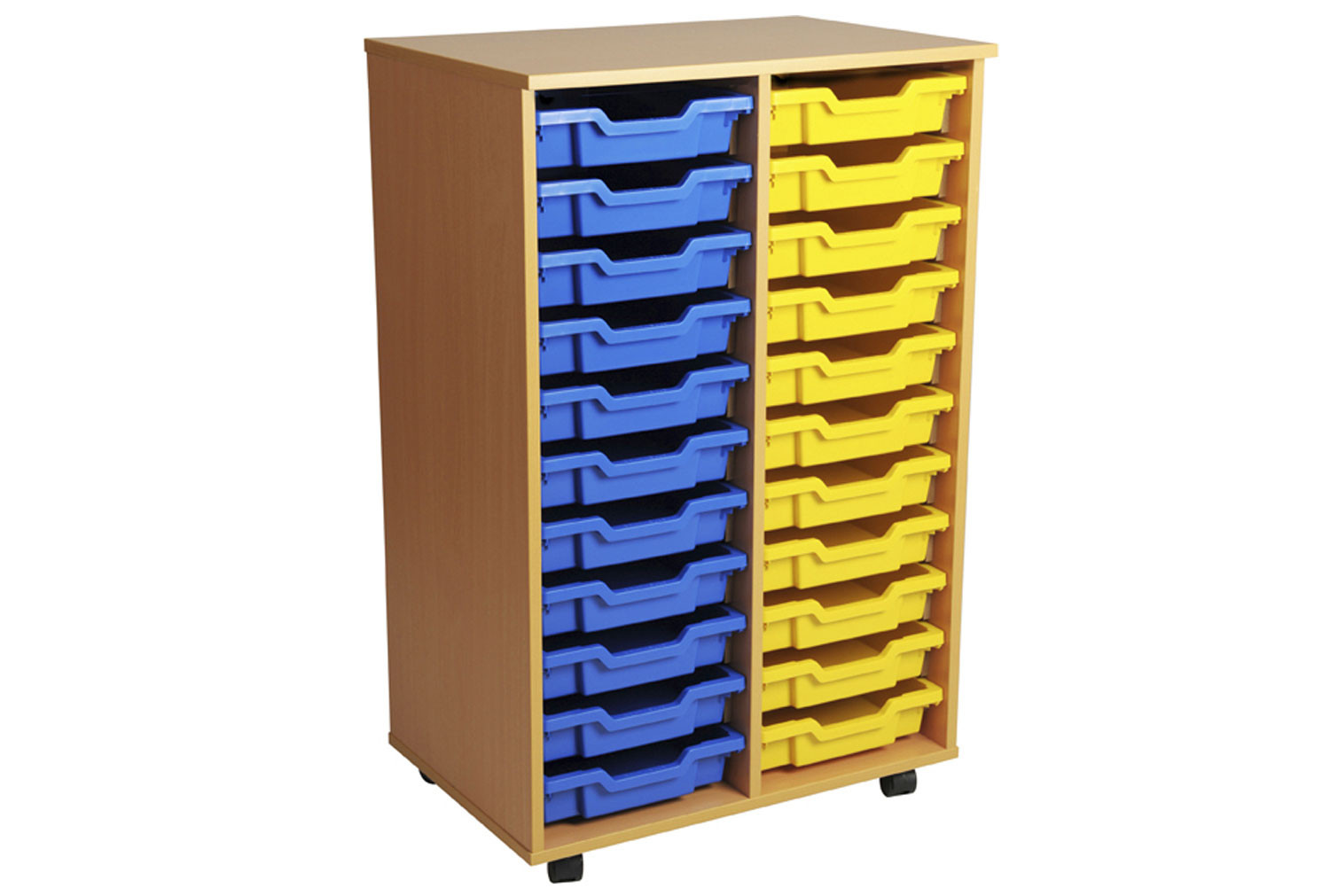 Primary Double Column Mobile Tray Storage Unit With 22 Shallow Trays