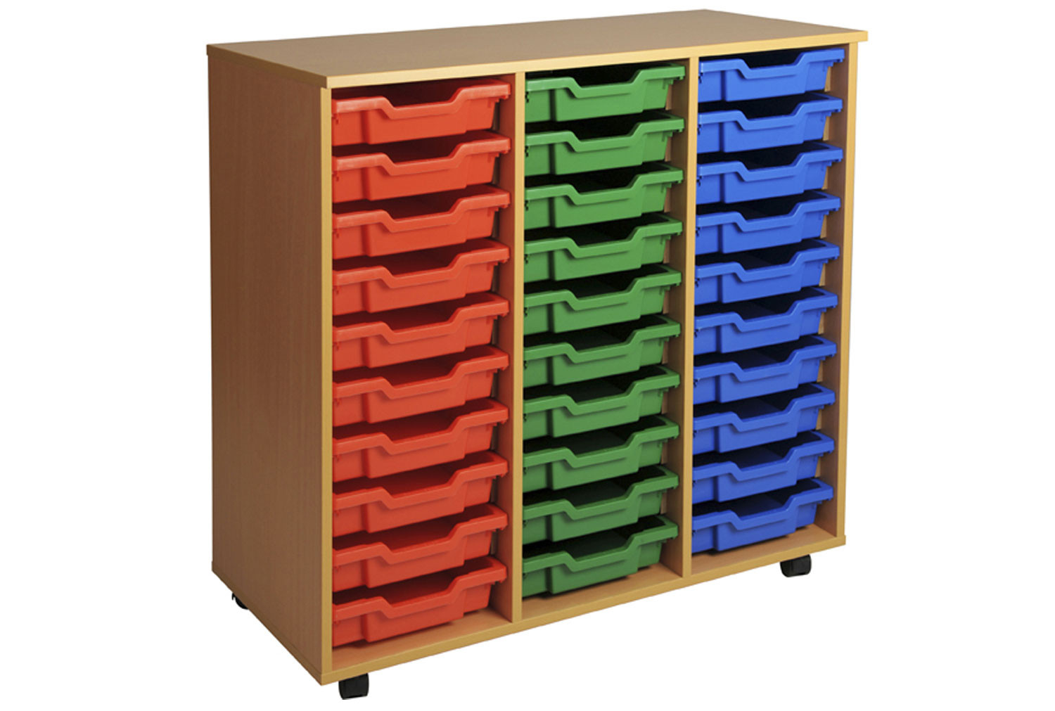 Primary Triple Column Mobile Tray Storage Unit With 30 Shallow Trays