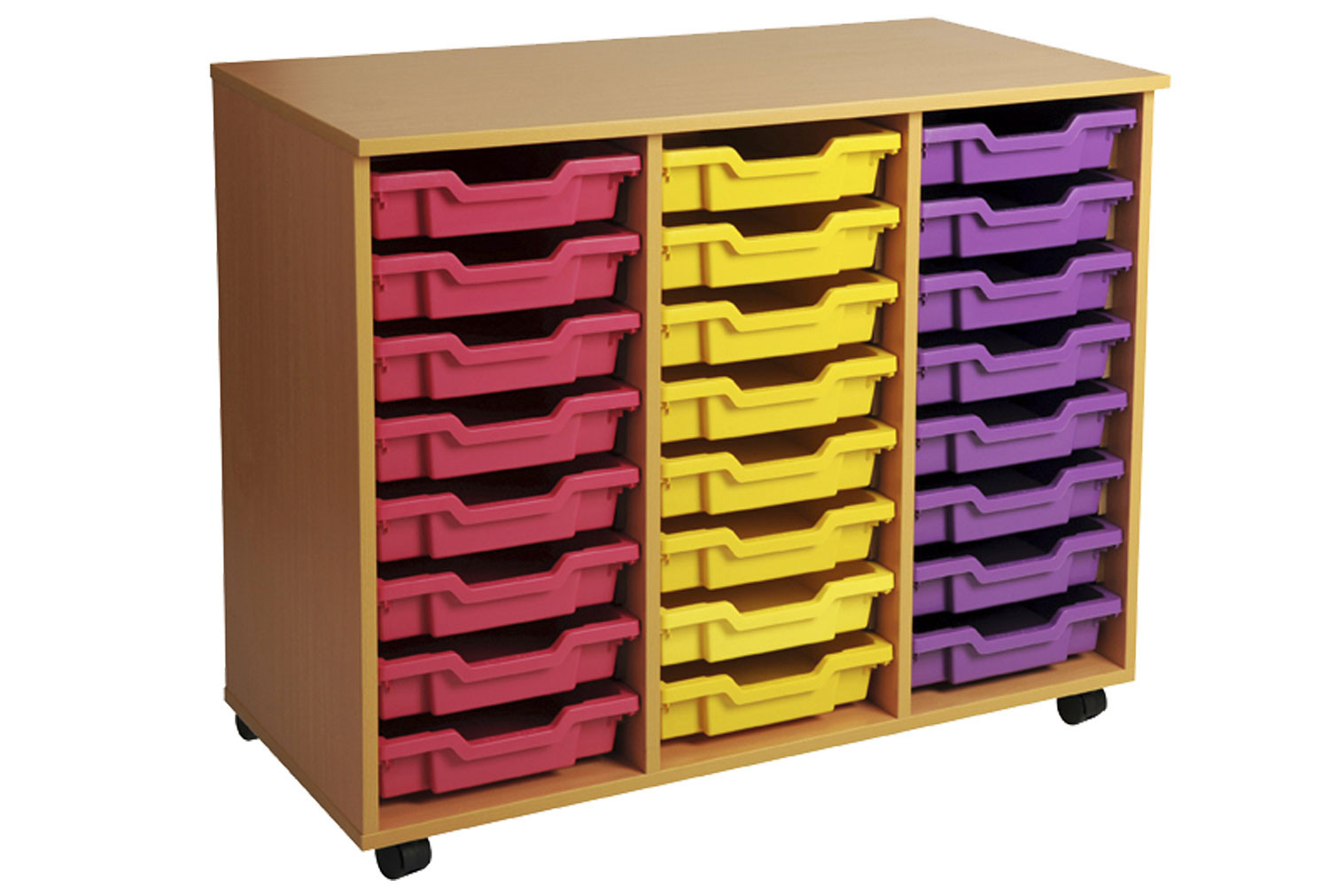 Primary Triple Column Mobile Tray Storage Unit With 24 Shallow Trays