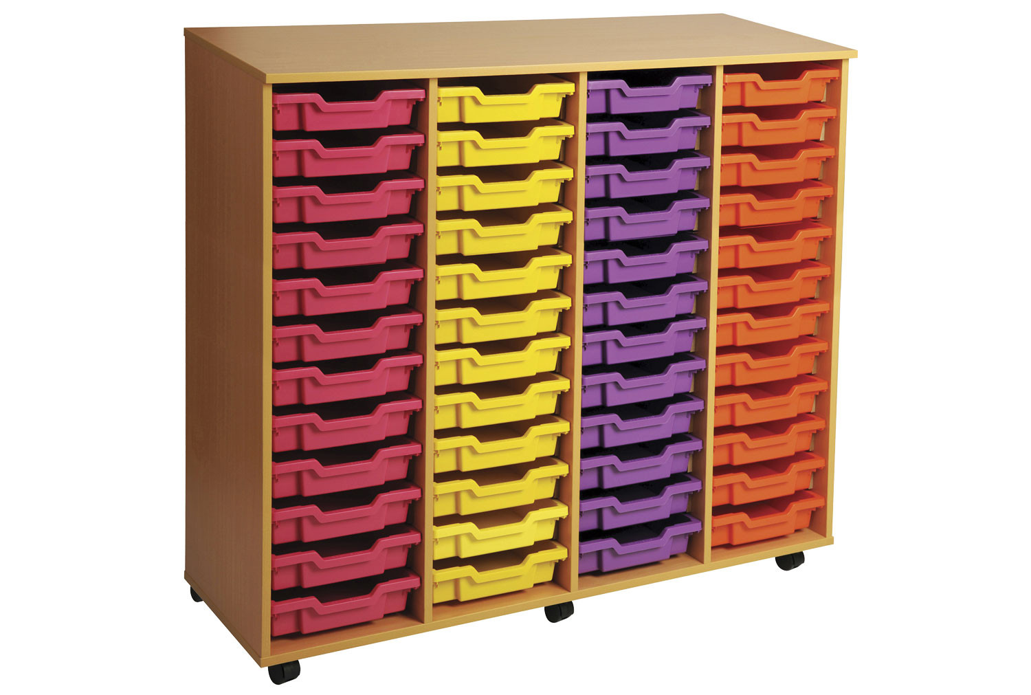 Primary 4 Column Mobile Tray Storage Unit With 48 Shallow Trays