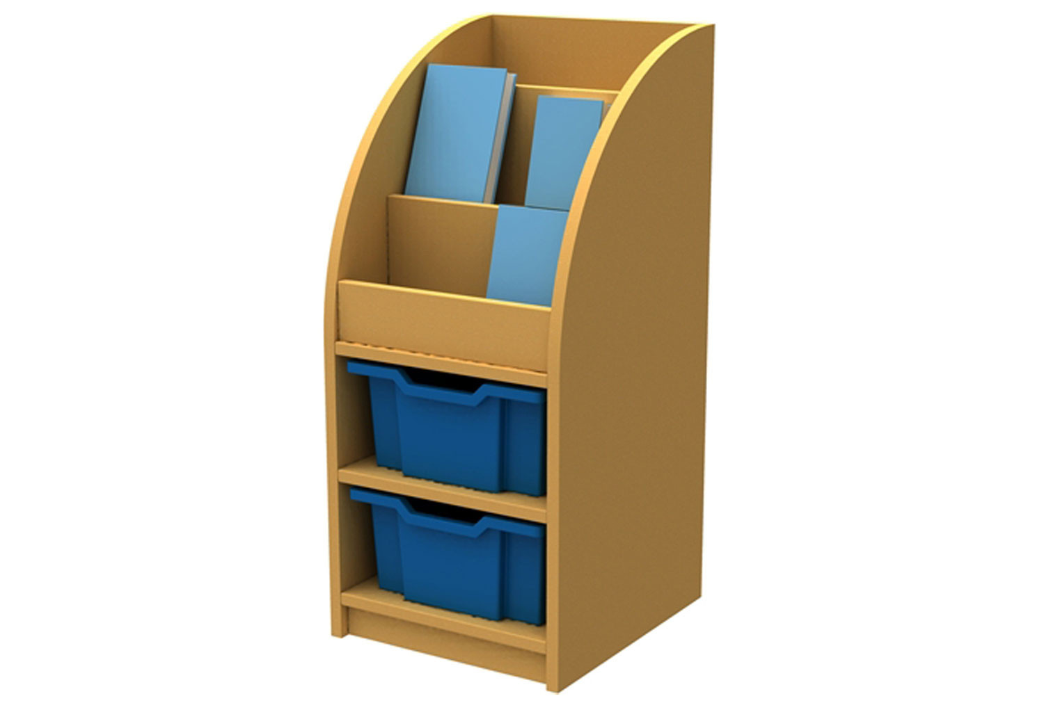 Arc Book Storage And Display Unit With 2 Trays
