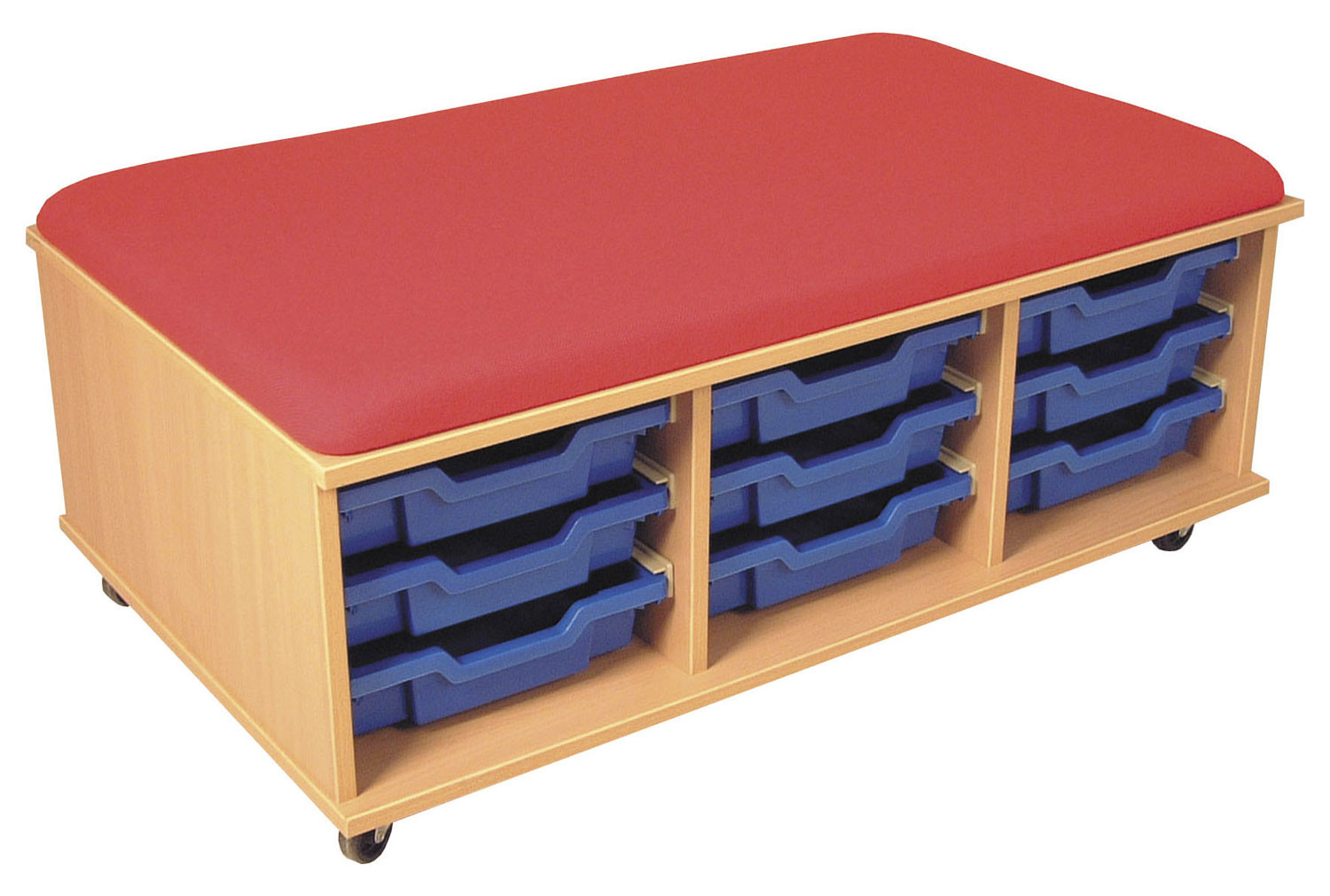 Combi Mobile Storage Unit With Blue Trays And Red Seat