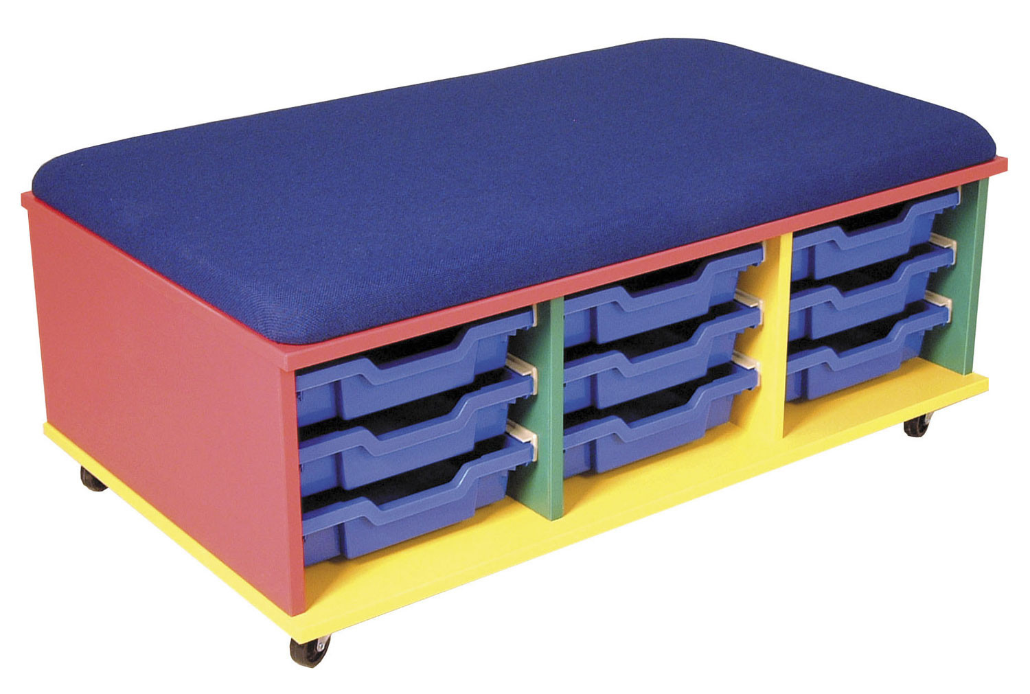 Combi Multicoloured Mobile Storage Unit With Blue Trays And Blue Seat