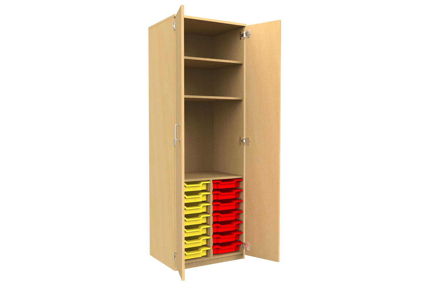 Tall Tray Storage 2 Shelf Cupboard With Full Doors Furniture At Work