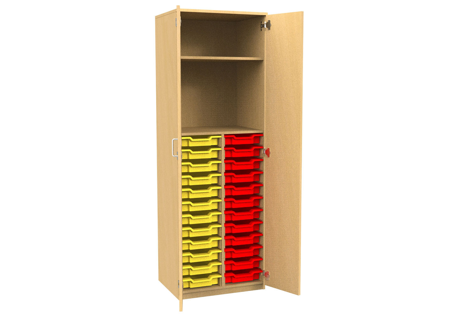 Tall Tray Storage 1 Shelf Cupboard With Full Doors