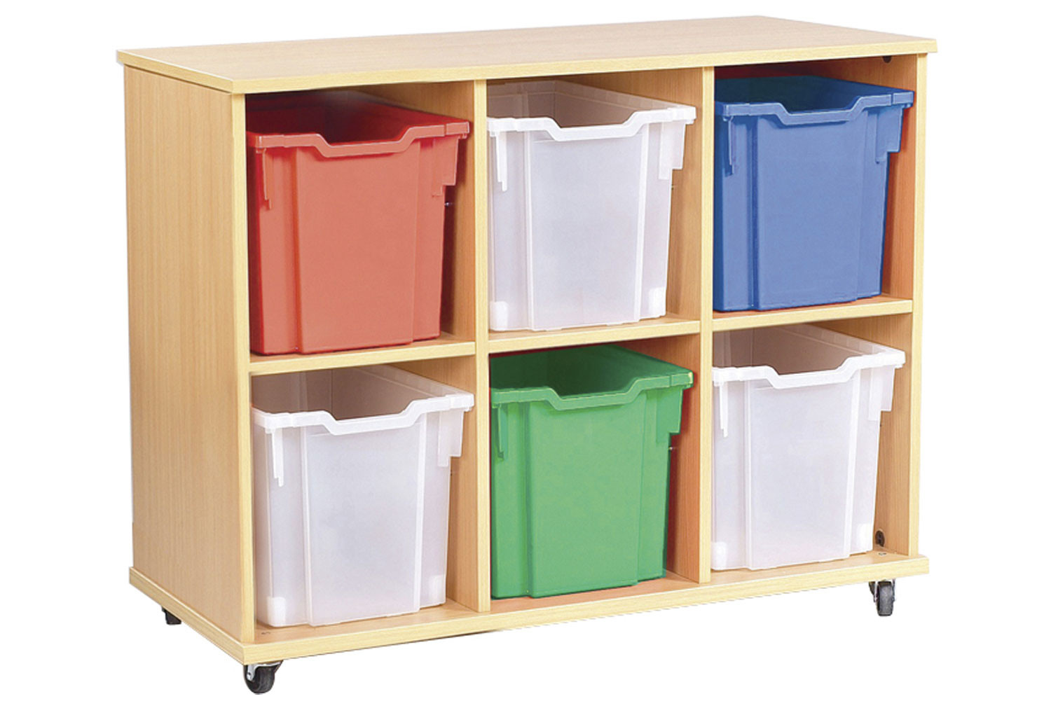 Triple Bay Mobile Storage Unit With 6 Jumbo Trays