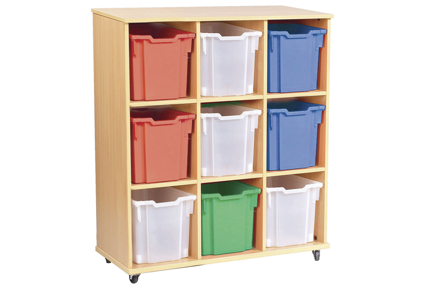 Triple Bay Mobile Storage Unit With 9 Jumbo Trays