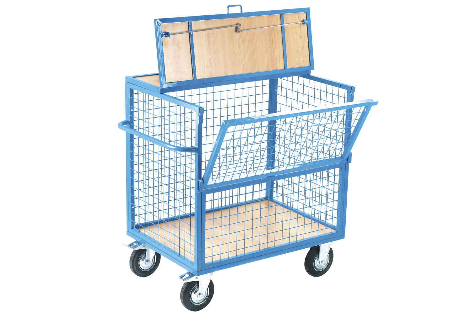 Mesh Security Trolley With Timber Deck (350kg Capacity)