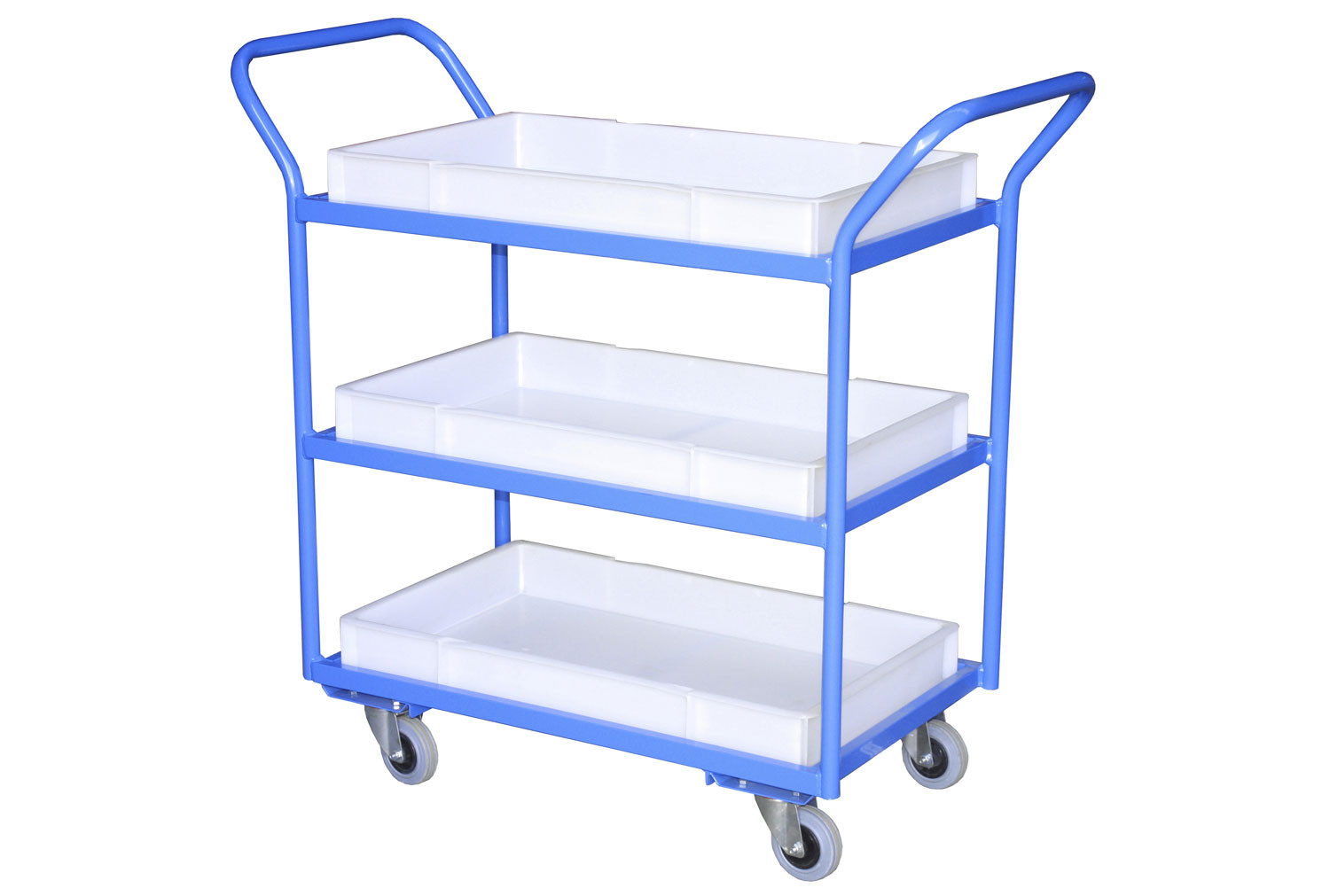 Fully Welded Tray Trolleys With Plastic Trays (125kg Capacity)