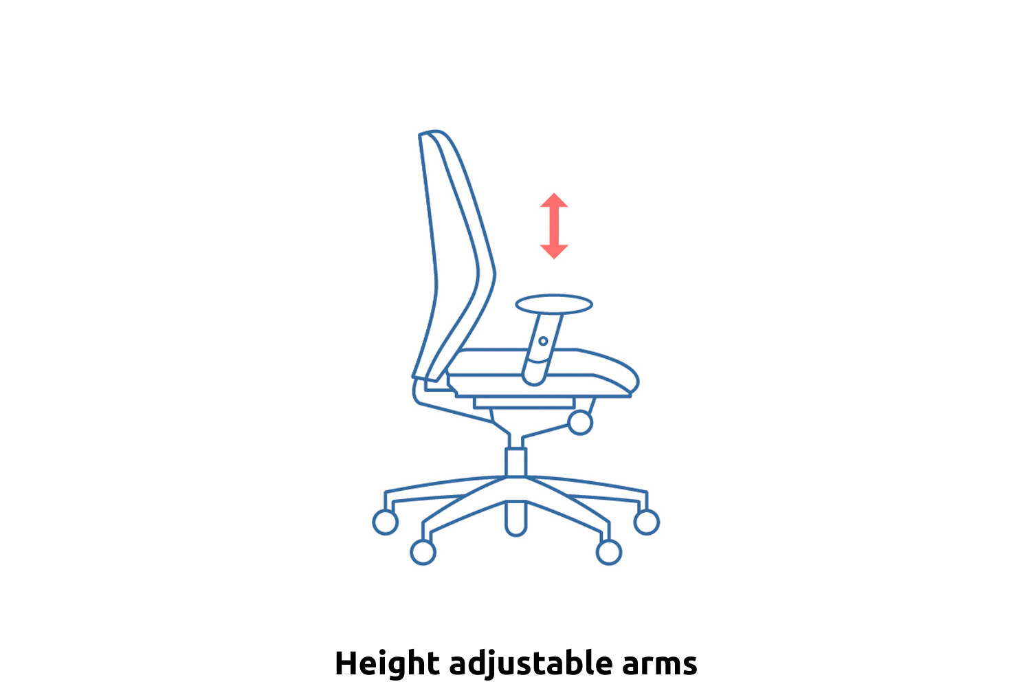Lunar Plus 2 Lever Fabric Operator Chair (Adjustable Arms)
