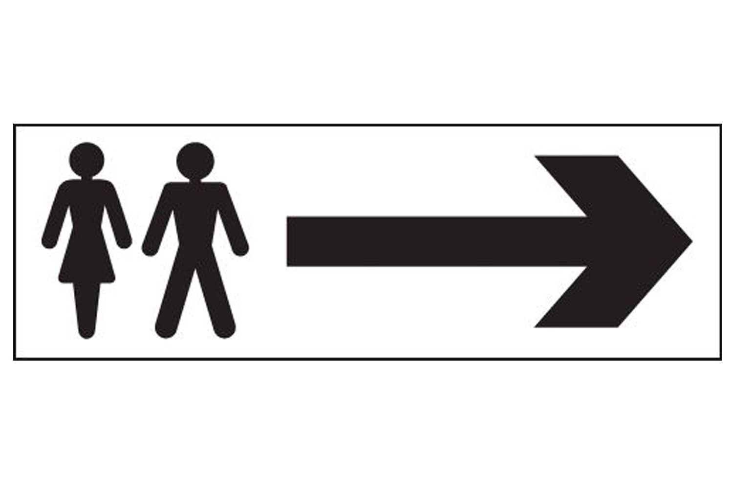 Male And Female With Arrow Right Washroom Sign