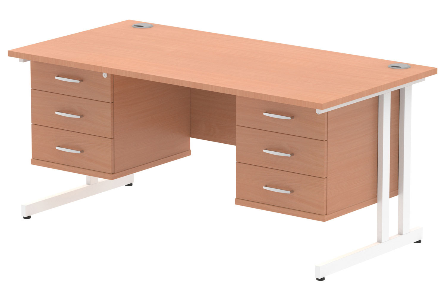 Vitali C-Leg Rectangular Desk 3+3 Drawers (White Legs)