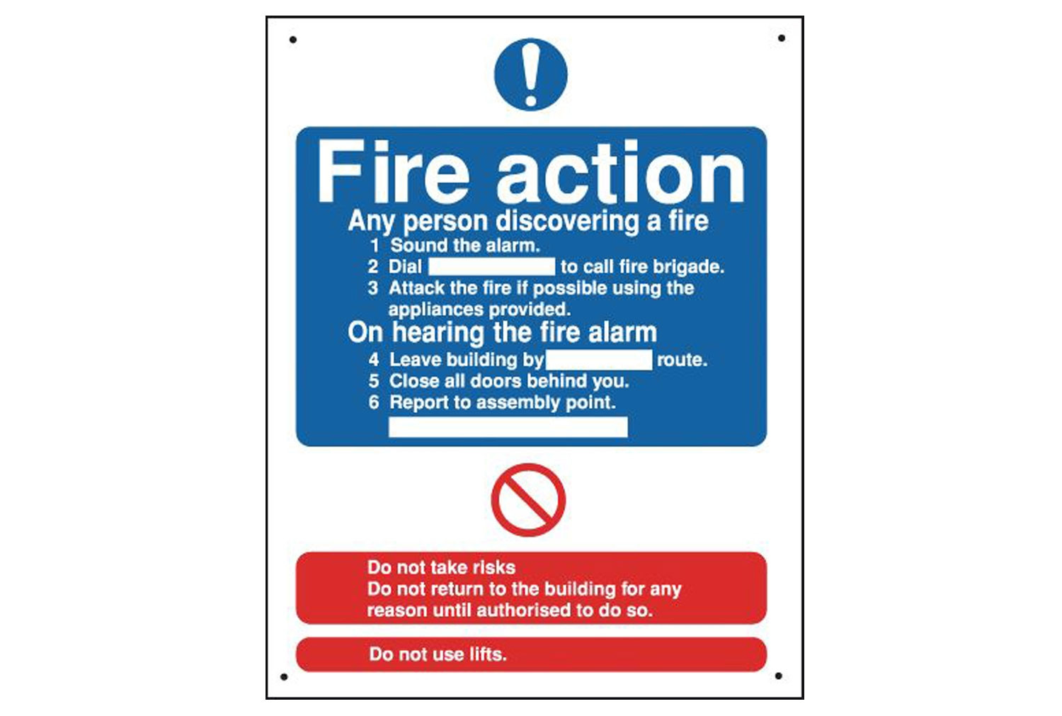 Fire Action Vandal Resistant Sign