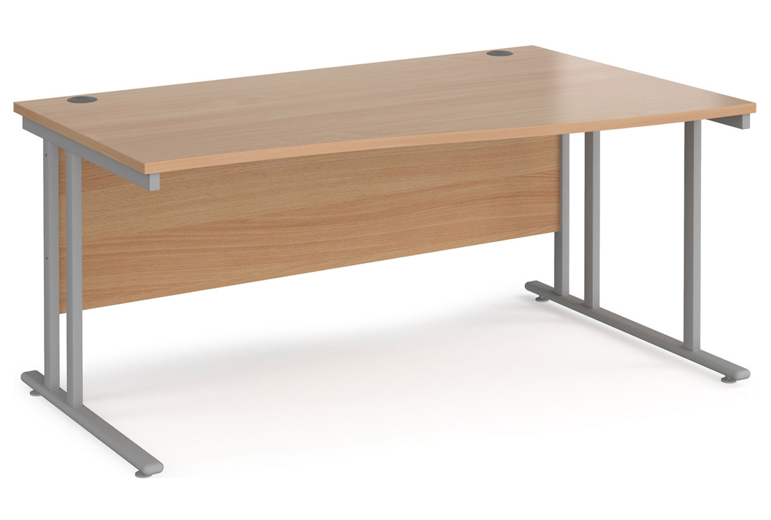 Value Line Deluxe C-Leg Right Hand Wave Desk (Silver Legs)
