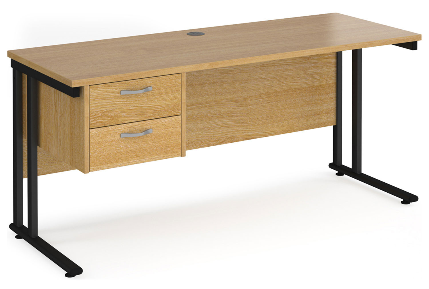 Alcott C-Leg Narrow Rectangular Home Desk With Pedestal