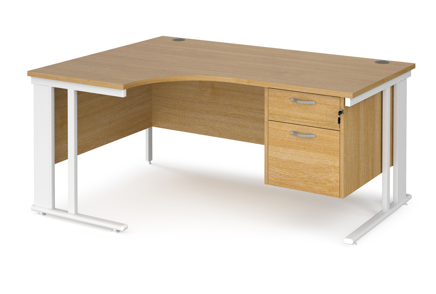 Value Line Deluxe Cable Managed Left Hand Ergo Desk 2 Drawers (White Legs)