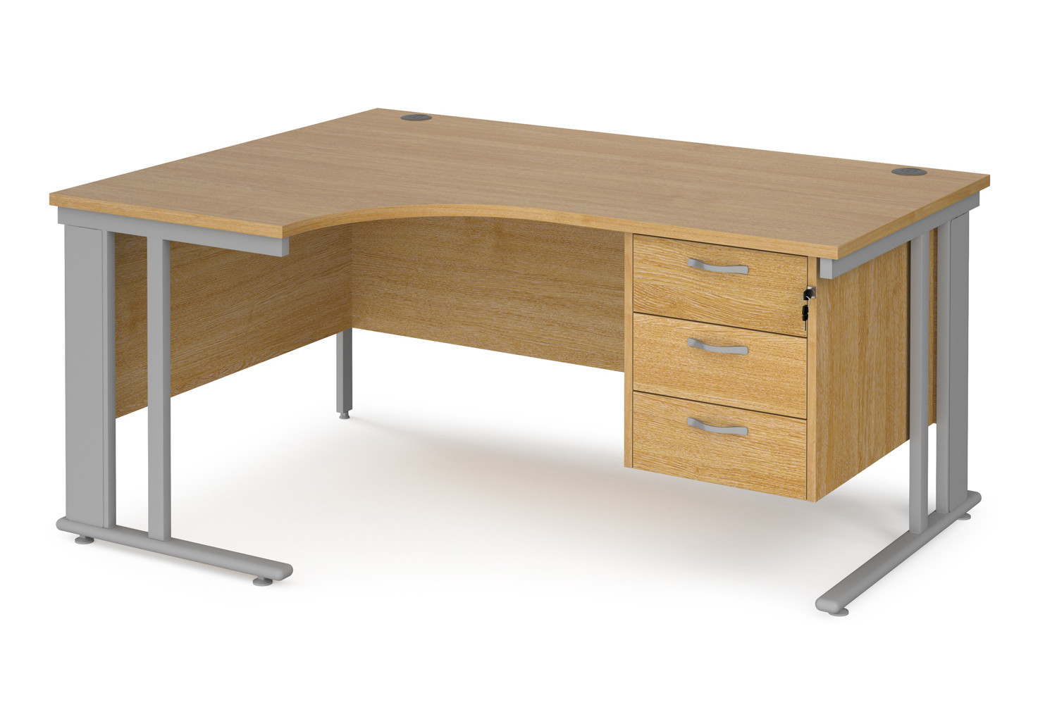 Value Line Deluxe Cable Managed Left Hand Ergo Desk 3 Drawers (Silver Legs)