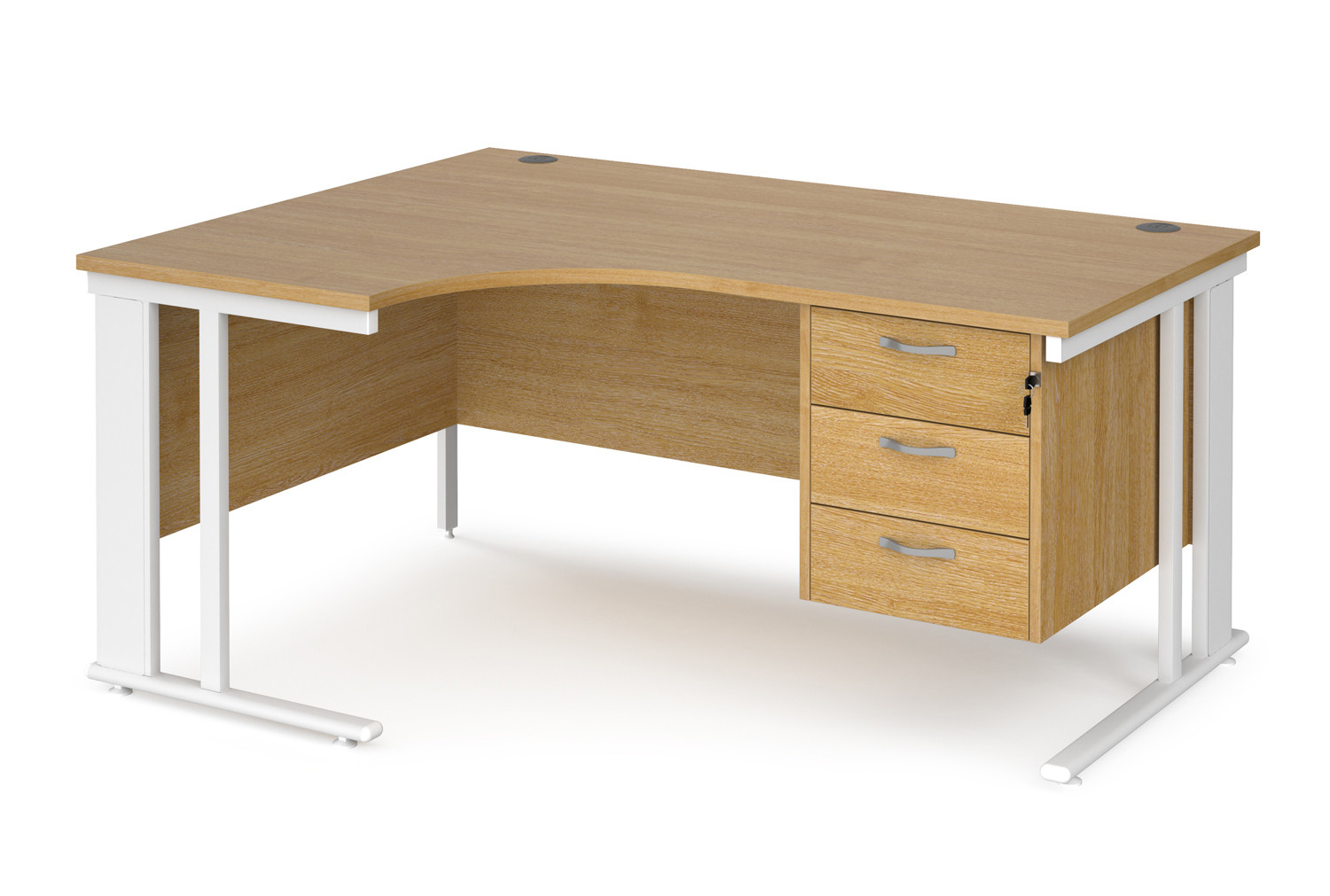 Value Line Deluxe Cable Managed Left Hand Ergo Desk 3 Drawers (White Legs)