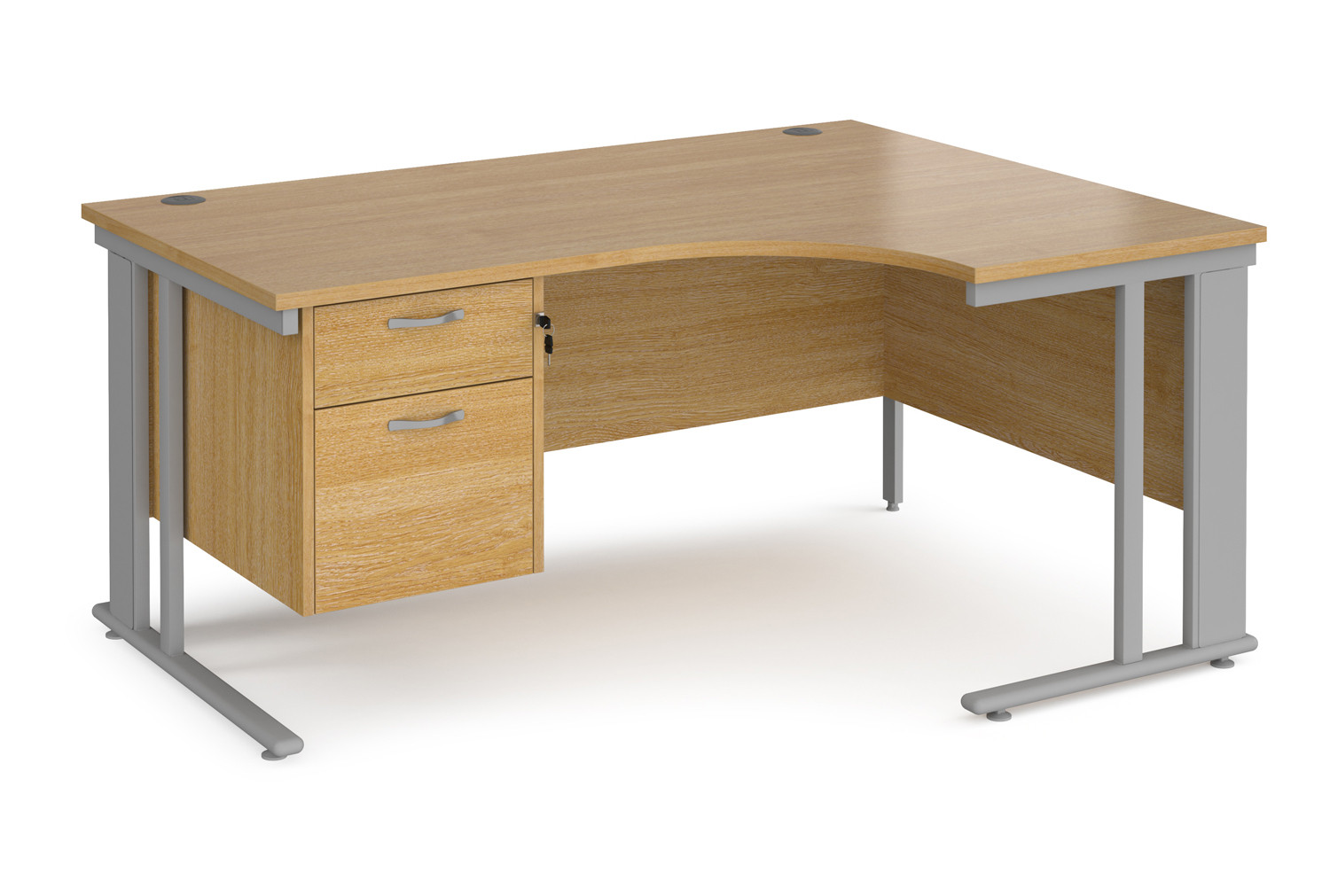 Value Line Deluxe Cable Managed Right Hand Ergo Desk 2 Drawers (Silver Legs)