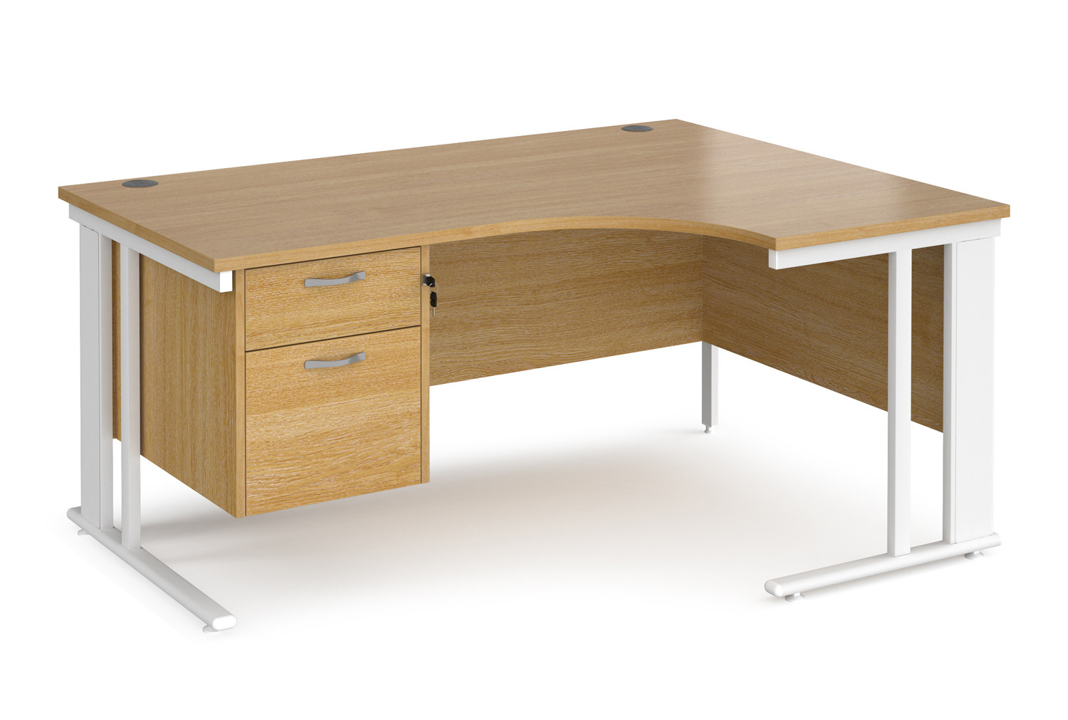 Value Line Deluxe Cable Managed Right Hand Ergo Desk 2 Drawers (White Legs)