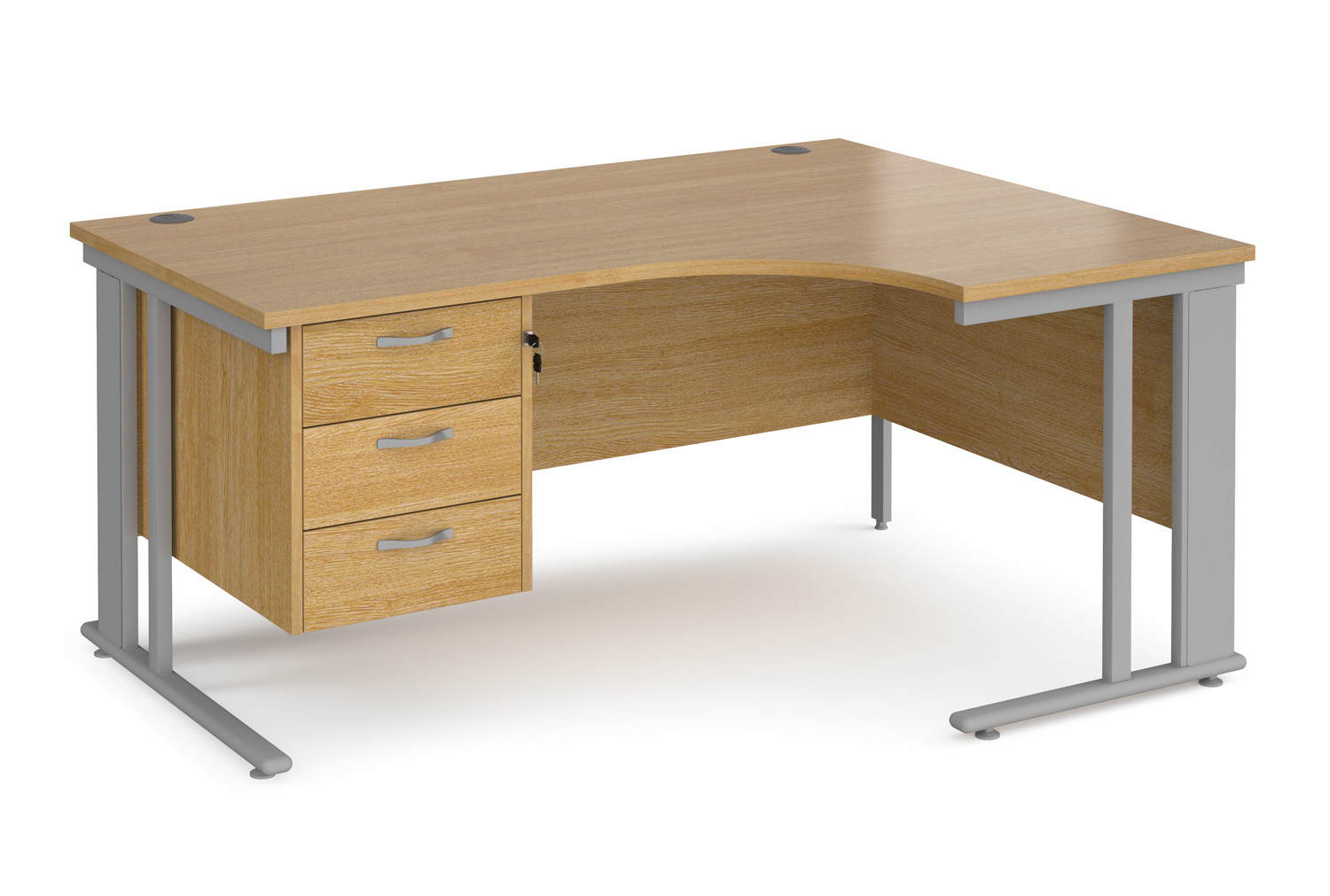 Value Line Deluxe Cable Managed Right Hand Ergo Desk 3 Drawers (Silver Legs)