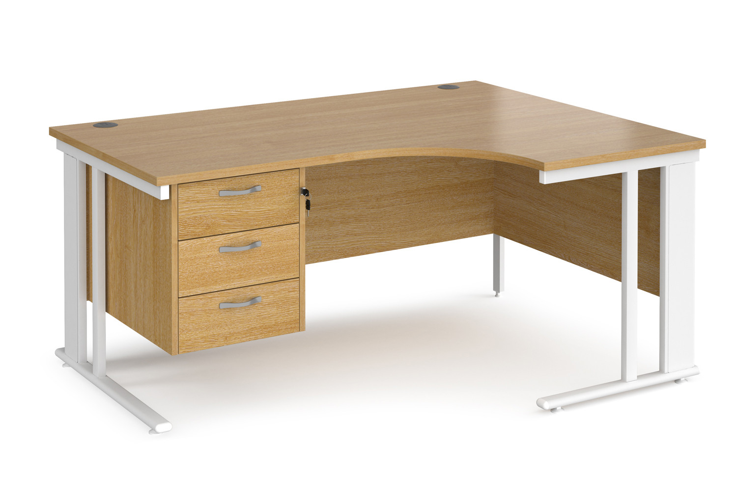 Value Line Deluxe Cable Managed Right Hand Ergo Desk 3 Drawers (White Legs)