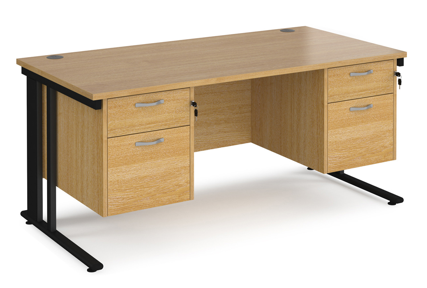 Value Line Deluxe Cable Managed Rectangular Desk 2+2 Drawers (Black Legs)