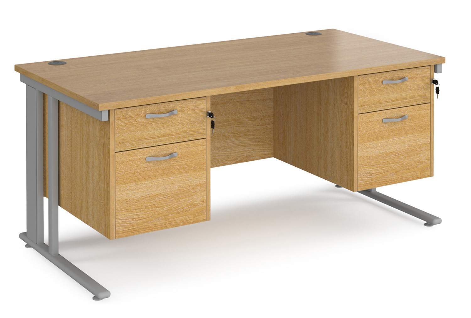Value Line Deluxe Cable Managed Rectangular Desk 2+2 Drawers (Silver Legs)