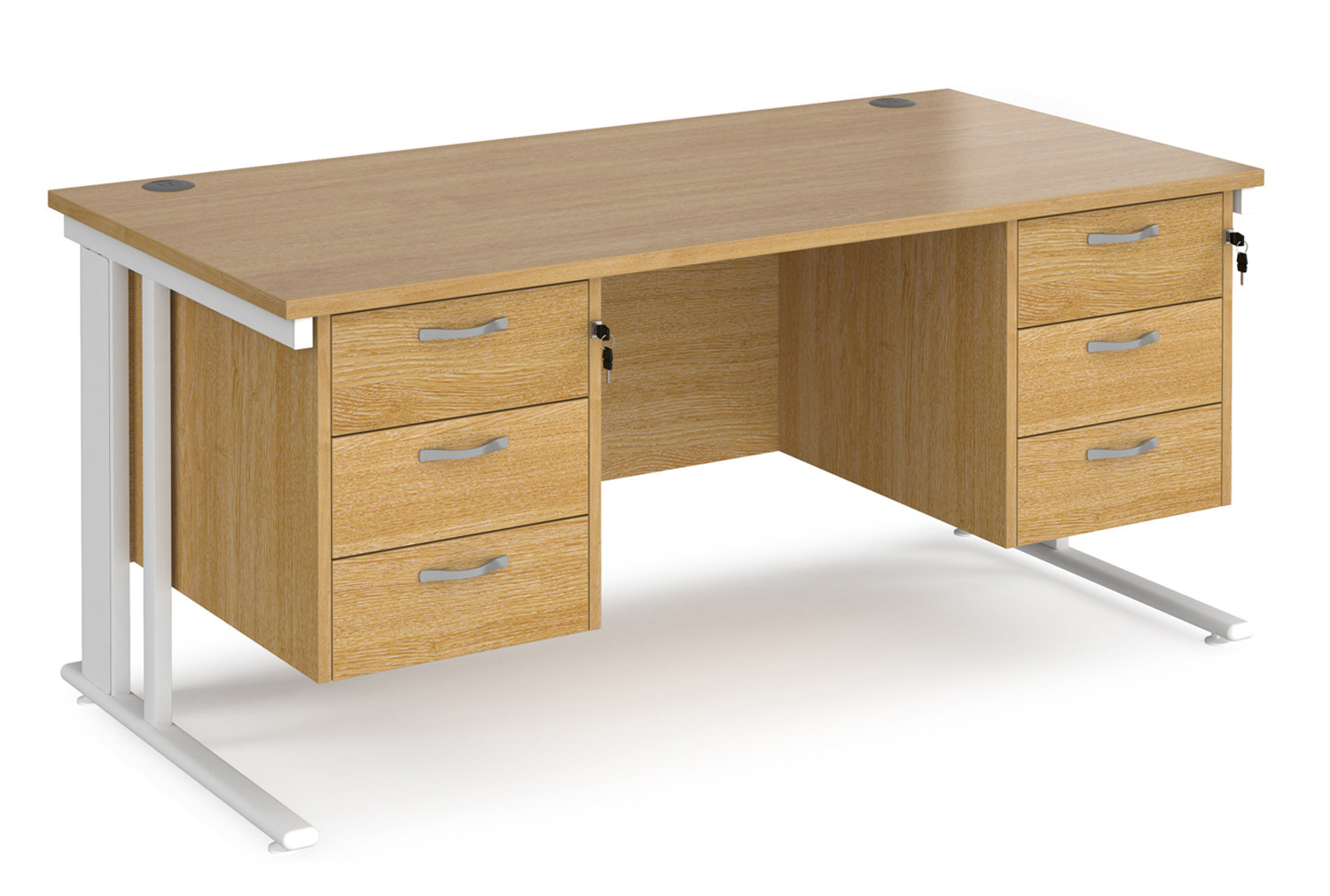 Value Line Deluxe Cable Managed Rectangular Desk 3+3 Drawers (White Legs)