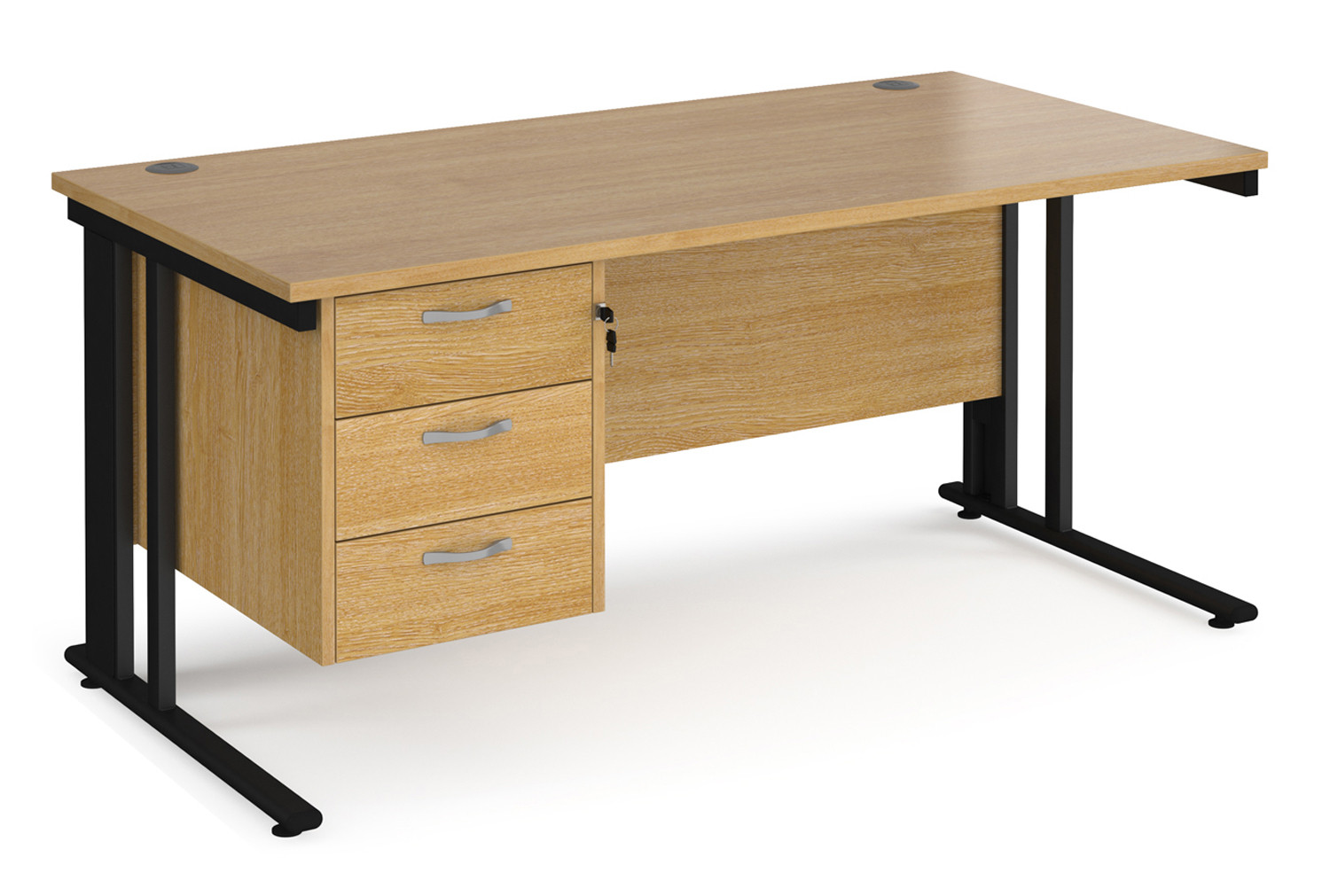 Alcott Cable Managed Rectangular Home Office Desk With Pedestal
