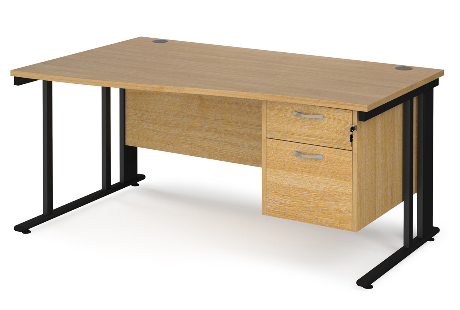 Value Line Deluxe Cable Managed Left Hand Wave Desk 2 Drawers (Black Legs)