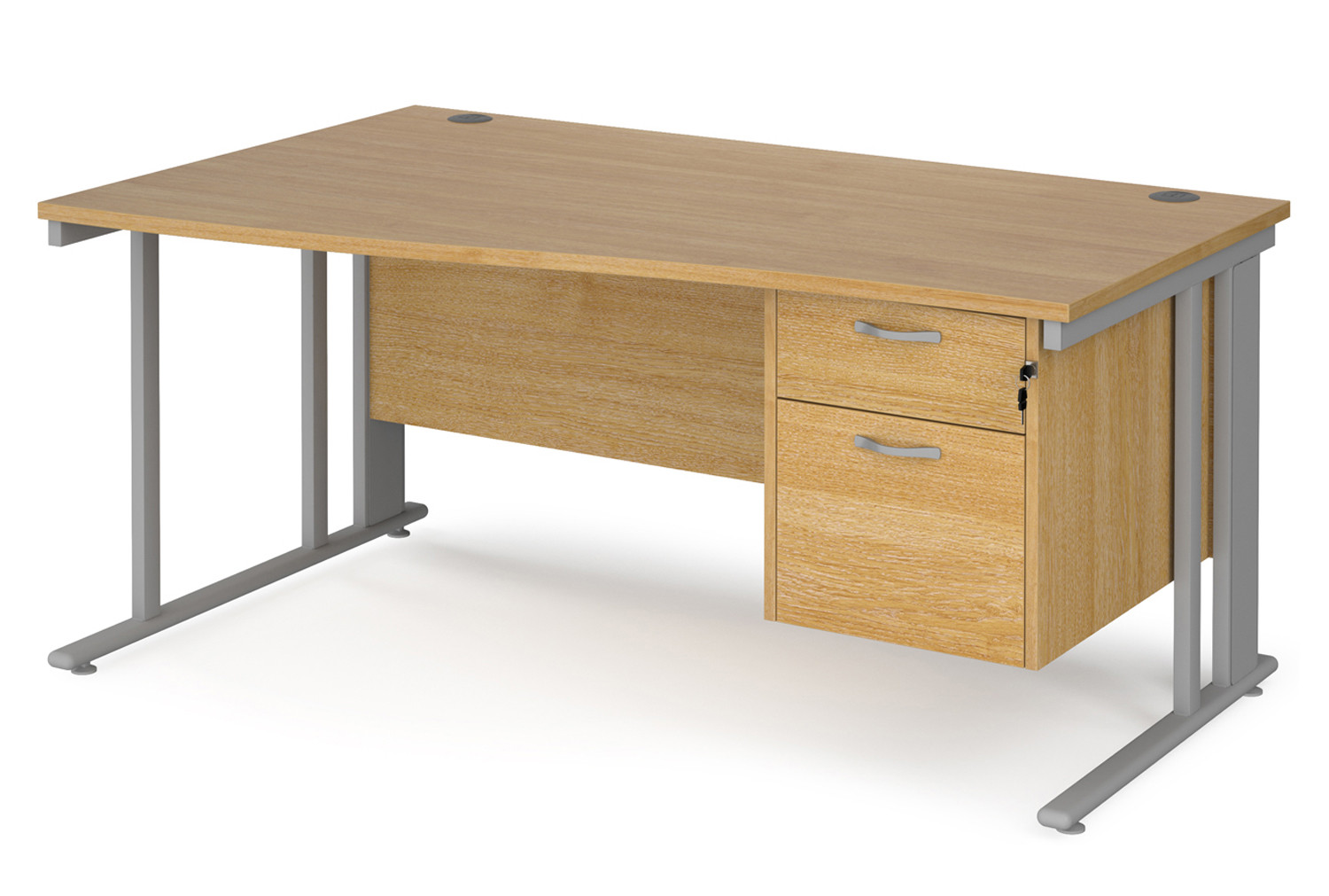 Value Line Deluxe Cable Managed Left Hand Wave Desk 2 Drawers (Silver Legs)