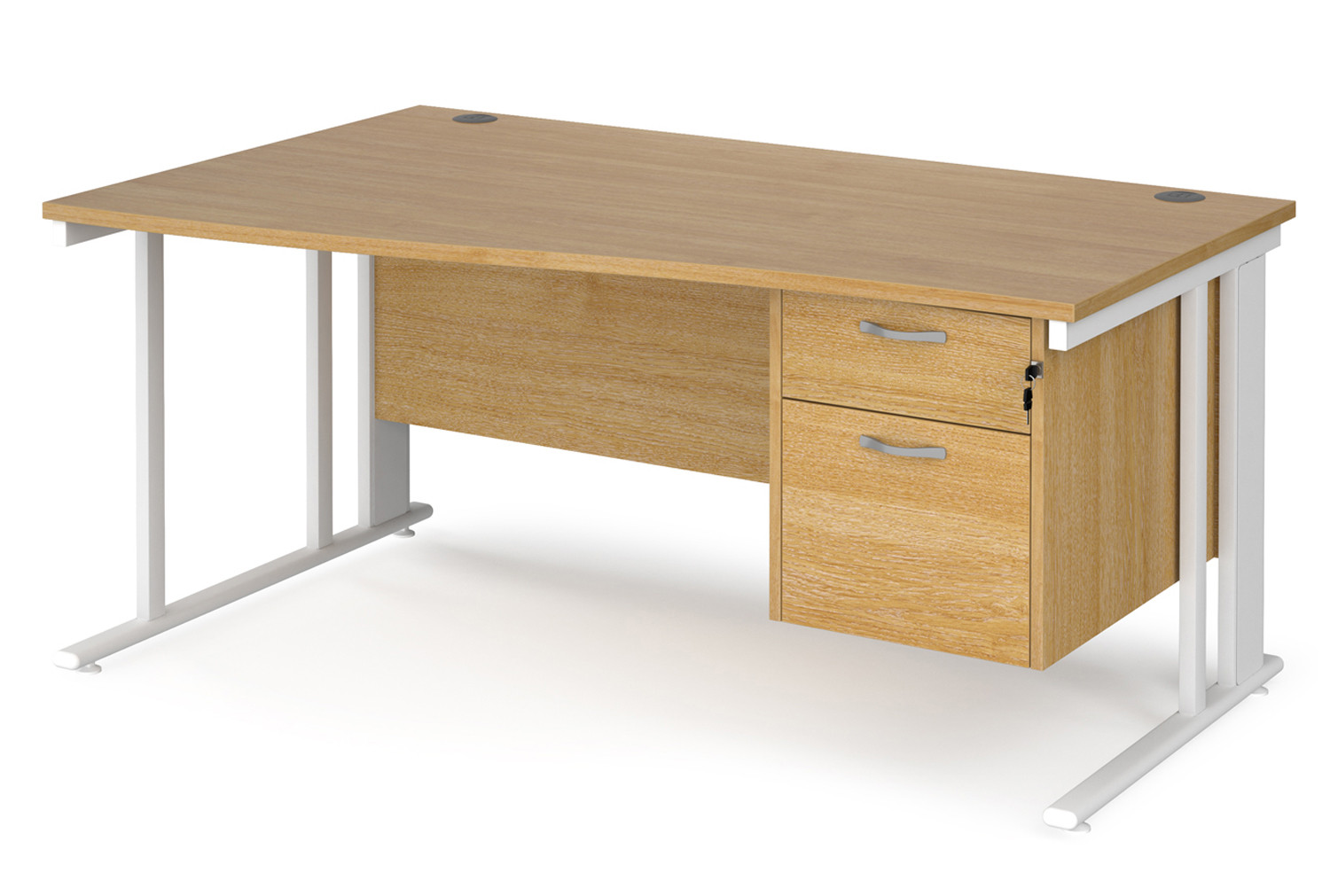 Value Line Deluxe Cable Managed Left Hand Wave Desk 2 Drawers (White Legs)