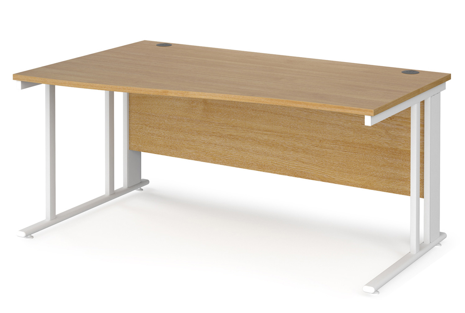 Value Line Deluxe Cable Managed Left Hand Wave Desk (White Legs)