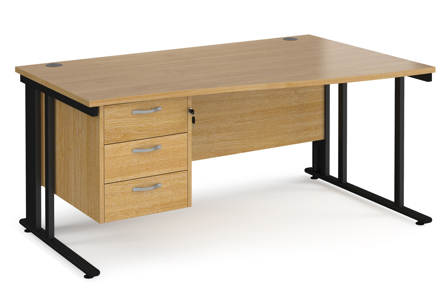 Value Line Deluxe Cable Managed Right Hand Wave Desk 3 Drawers (Black Legs)