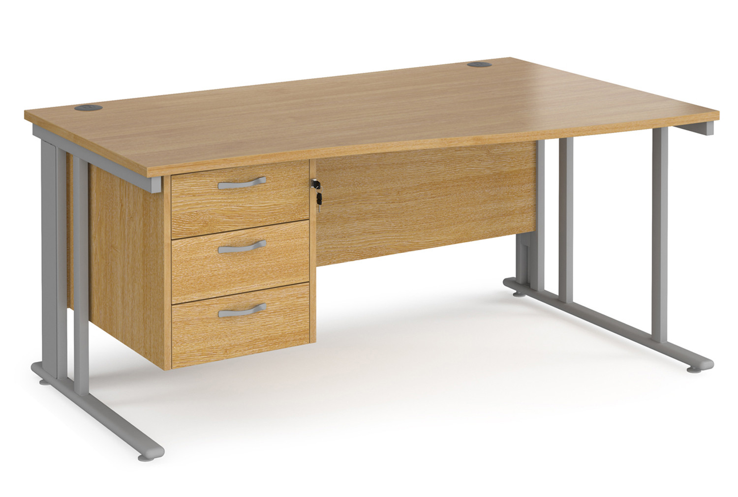 Value Line Deluxe Cable Managed Right Hand Wave Desk 3 Drawers (Silver Legs)