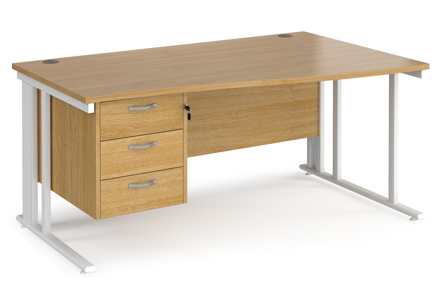Value Line Deluxe Cable Managed Right Hand Wave Desk 3 Drawers (White Legs)
