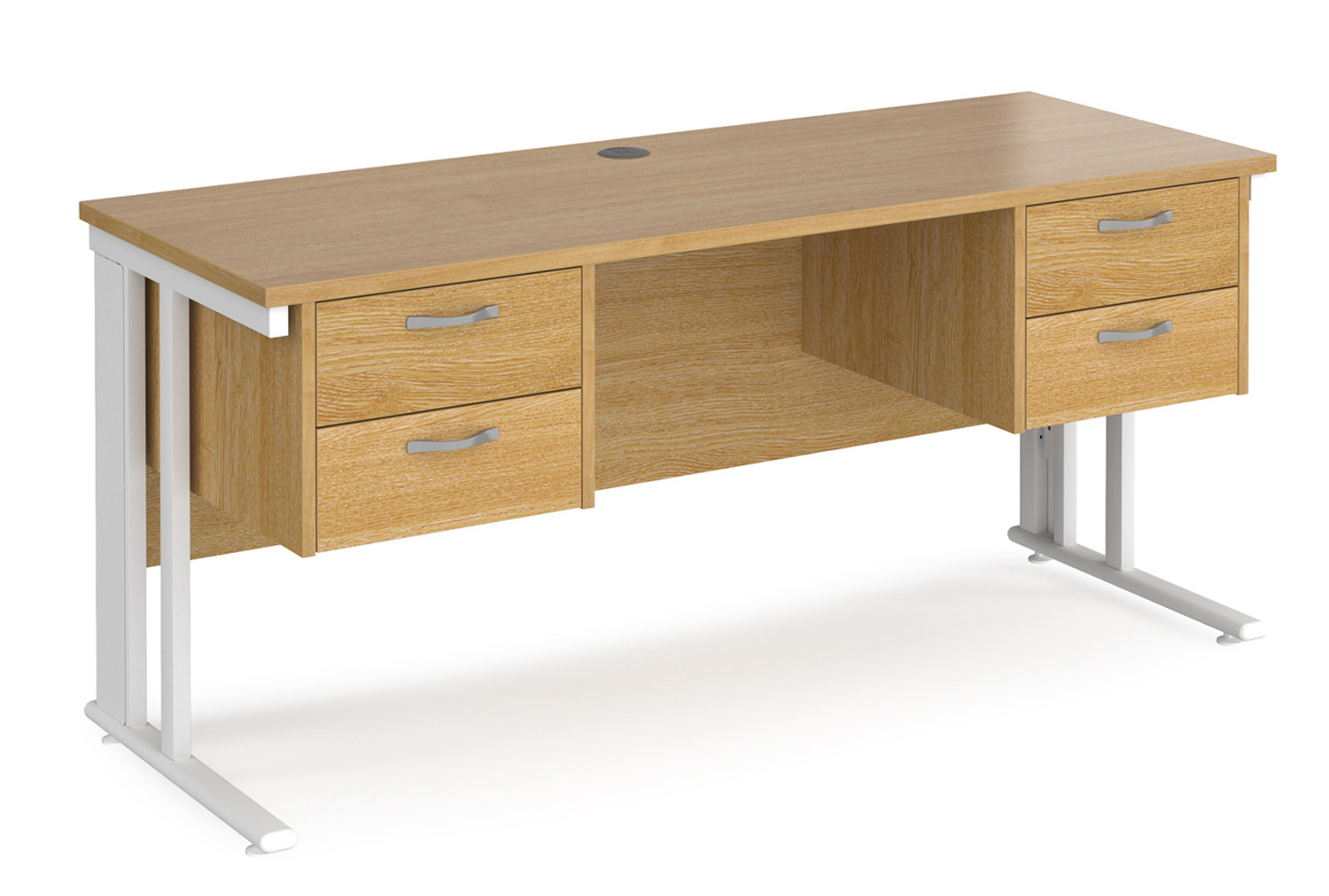 Value Line Deluxe Cable Managed Narrow Rectangular Desk 2+2 Drawers (White Legs)