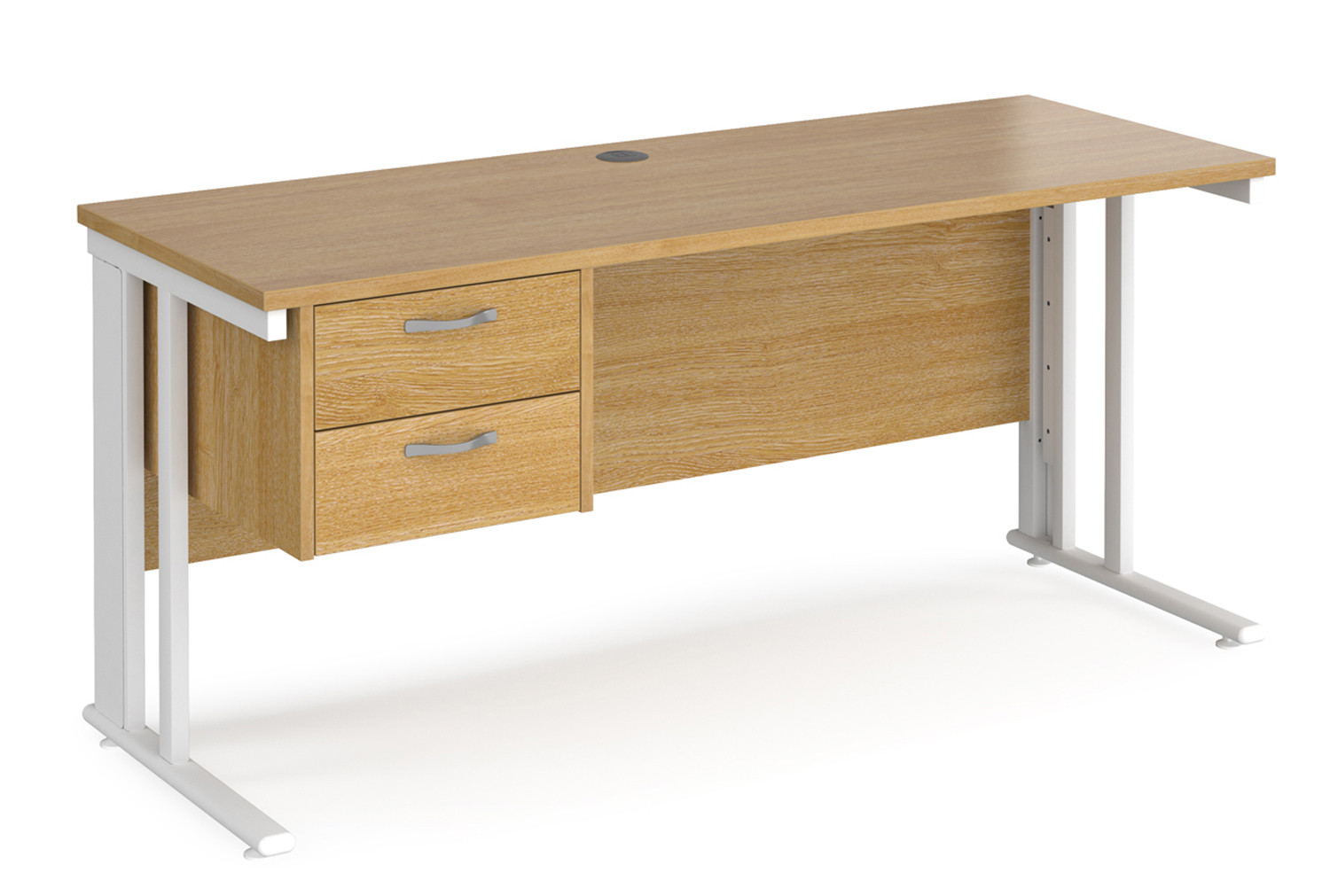 Value Line Deluxe Cable Managed Narrow Rectangular Desk 2 Drawers (White Legs)