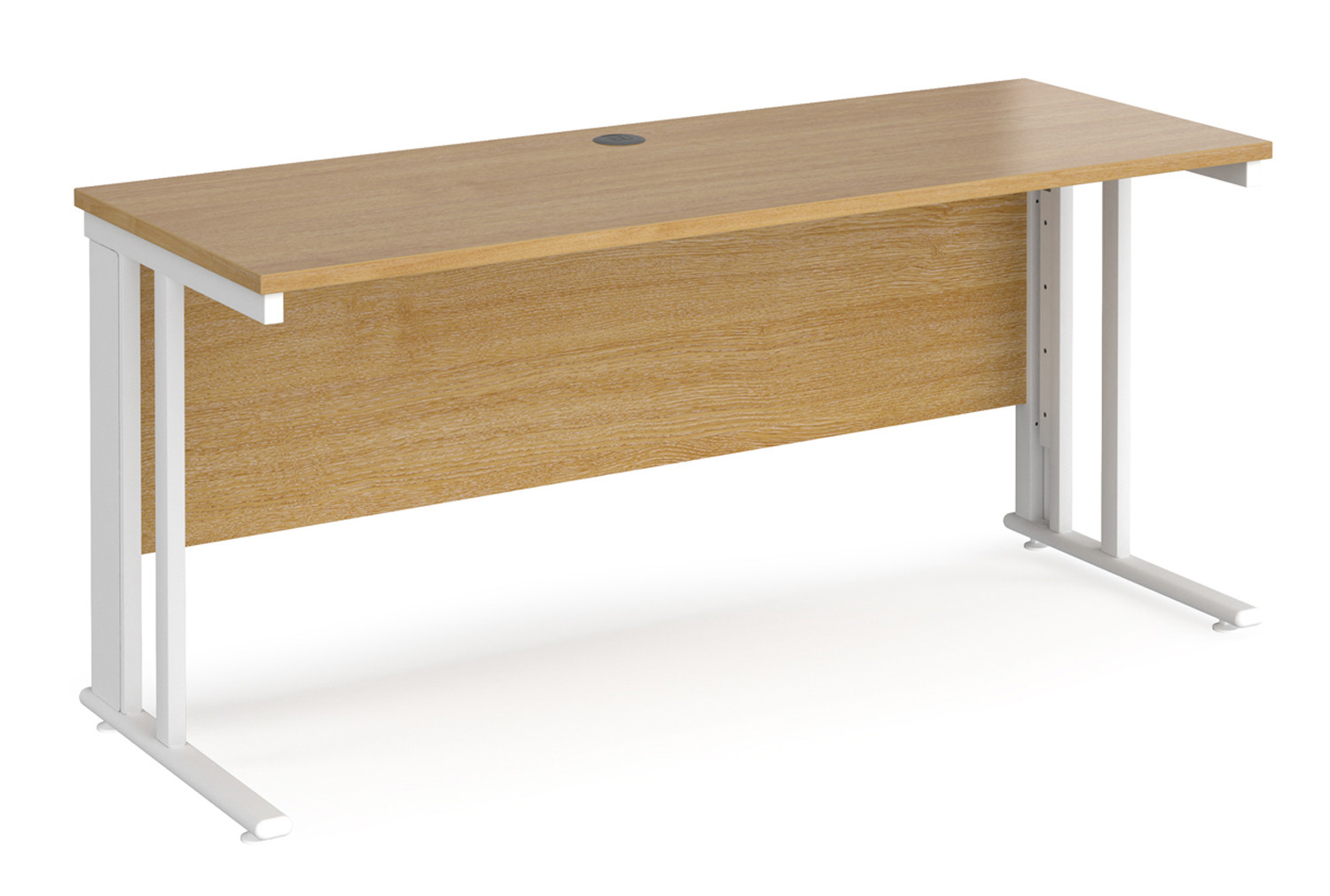 Value Line Deluxe Cable Managed Narrow Rectangular Desk (White Legs)