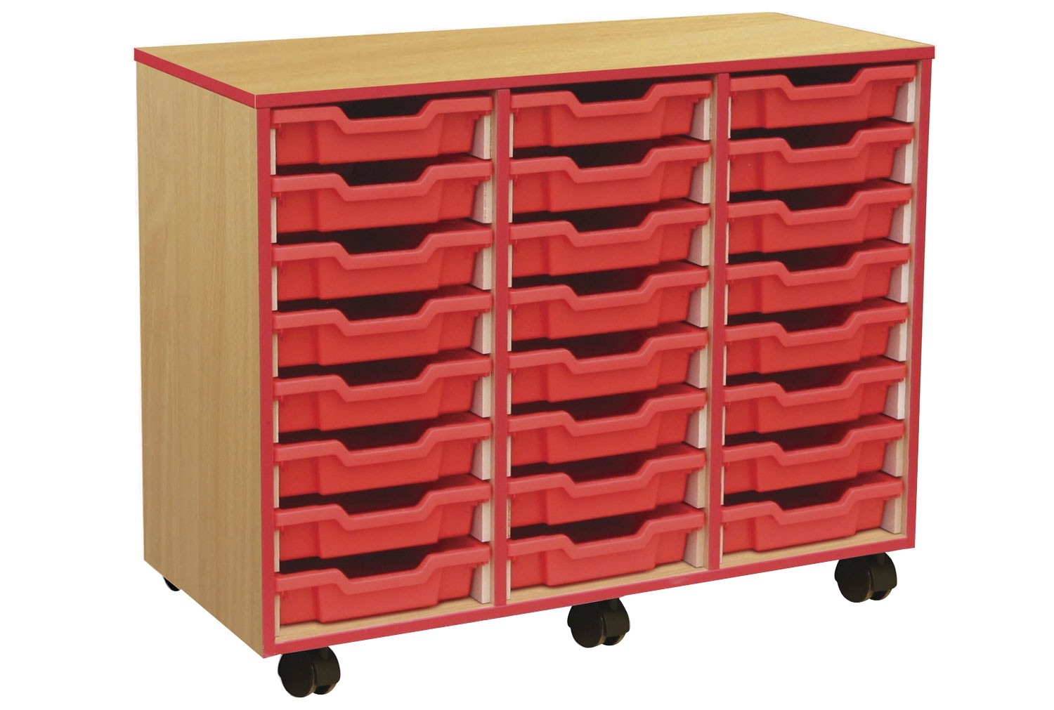 24 Shallow Tray Storage Unit With Coloured Edge