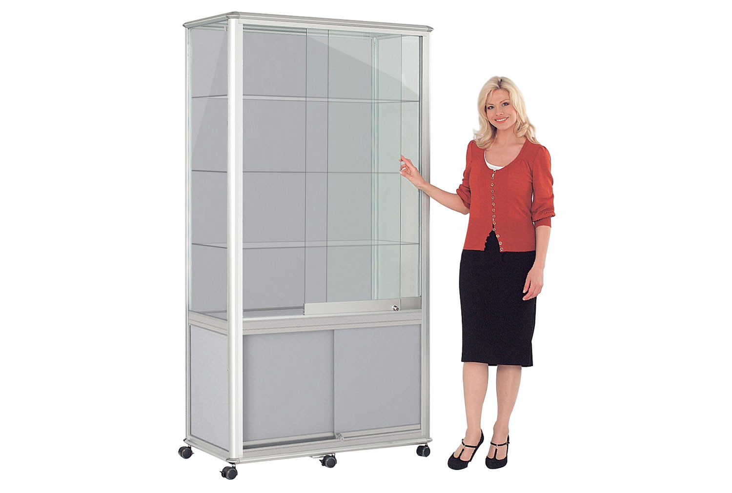 Shield Glazed Display Case With Cupboard