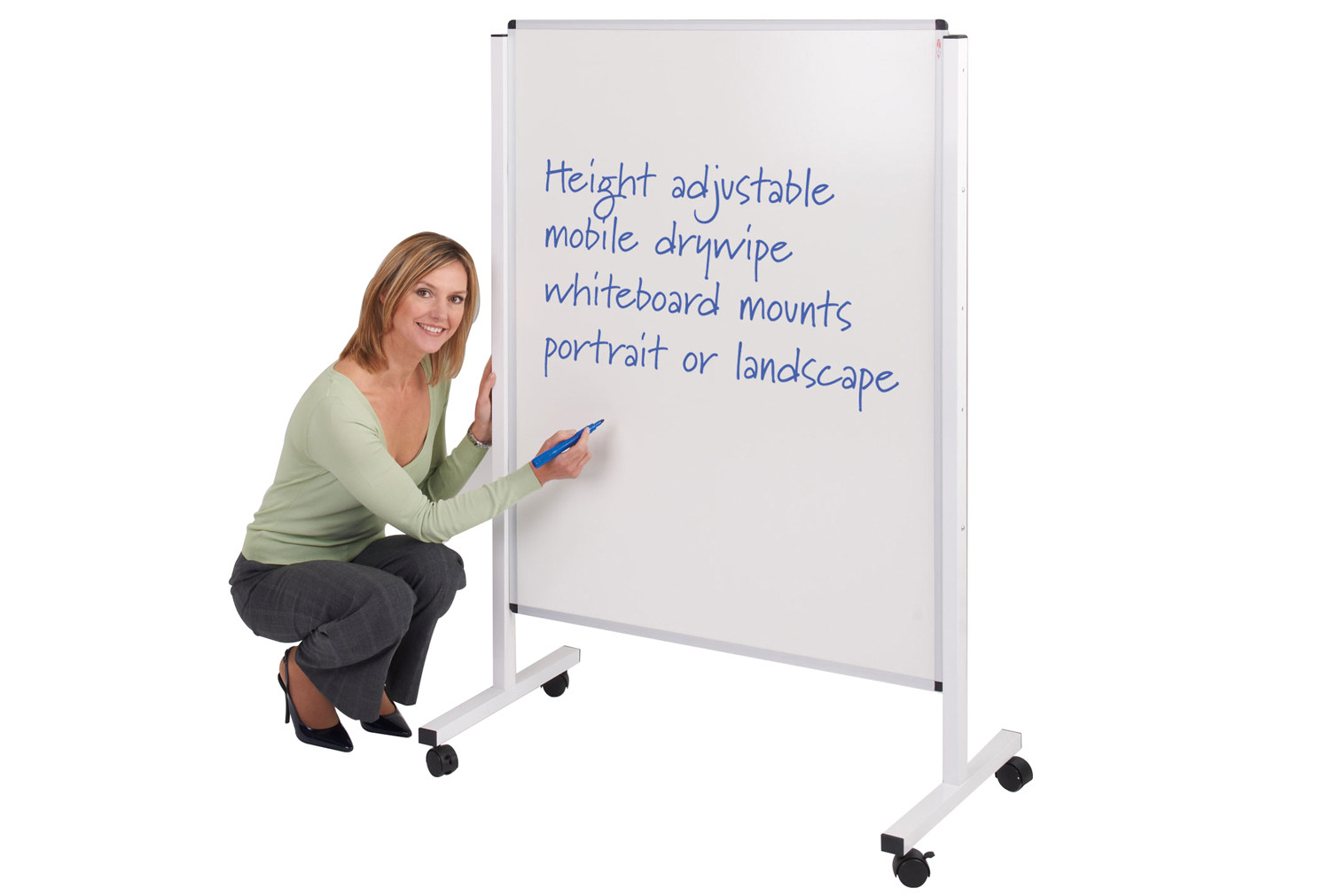 Write-On Height Adjustable Mobile Whiteboards