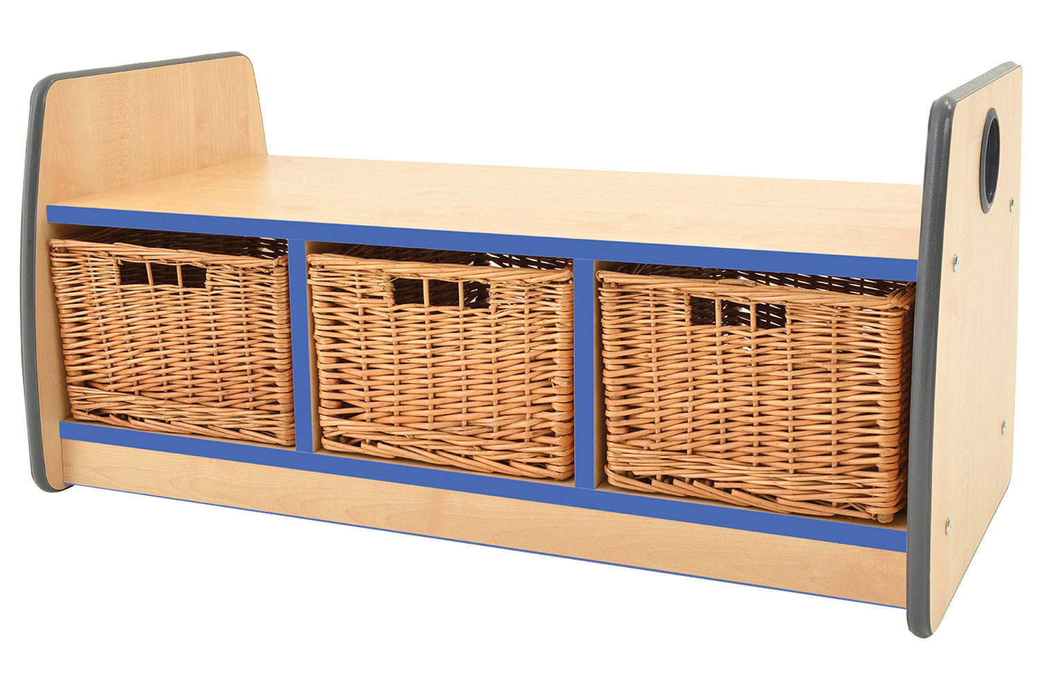 Junior Double Sided Bench Storage Unit With Laminate Top & 3 Wicker Baskets